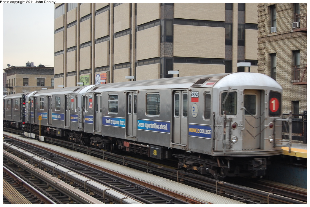 (365k, 1044x699)<br><b>Country:</b> United States<br><b>City:</b> New York<br><b>System:</b> New York City Transit<br><b>Line:</b> IRT West Side Line<br><b>Location:</b> 215th Street <br><b>Route:</b> 1<br><b>Car:</b> R-62A (Bombardier, 1984-1987)  2325 <br><b>Photo by:</b> John Dooley<br><b>Date:</b> 12/10/2010<br><b>Viewed (this week/total):</b> 1 / 781
