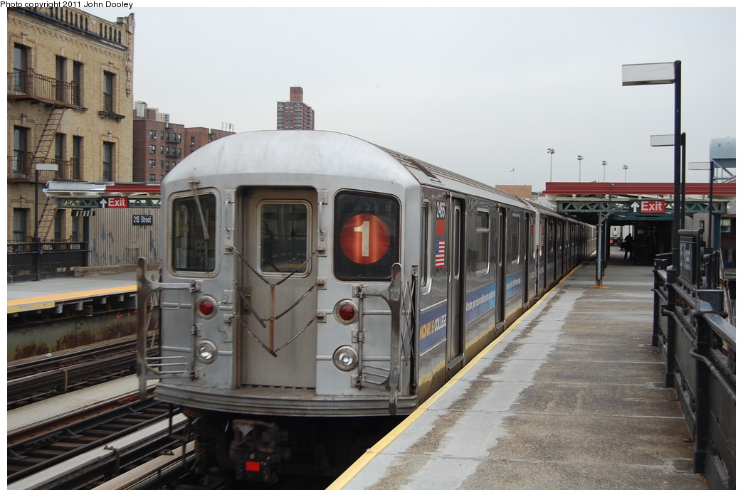 (317k, 1044x699)<br><b>Country:</b> United States<br><b>City:</b> New York<br><b>System:</b> New York City Transit<br><b>Line:</b> IRT West Side Line<br><b>Location:</b> 215th Street <br><b>Route:</b> 1<br><b>Car:</b> R-62A (Bombardier, 1984-1987)  2466 <br><b>Photo by:</b> John Dooley<br><b>Date:</b> 12/10/2010<br><b>Viewed (this week/total):</b> 0 / 685