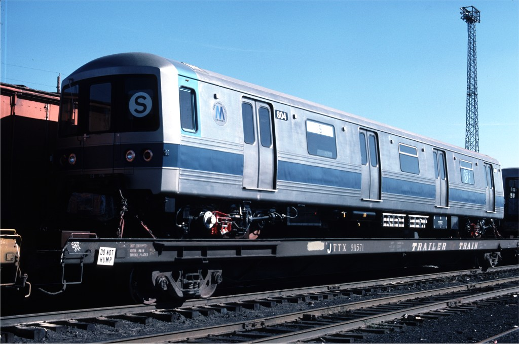 (161k, 1024x679)<br><b>Country:</b> United States<br><b>City:</b> Secaucus, NJ<br><b>System:</b> New York City Transit<br><b>Location:</b> Croxton Yard (NYCTA Equipment Delivery)<br><b>Car:</b> R-46 (Pullman-Standard, 1974-75) 804 <br><b>Photo by:</b> Ed McKernan<br><b>Collection of:</b> Joe Testagrose<br><b>Date:</b> 10/11/1976<br><b>Viewed (this week/total):</b> 2 / 233