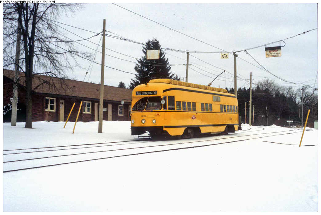 (290k, 1044x701)<br><b>Country:</b> Canada<br><b>City:</b> Toronto<br><b>System:</b> Halton County Radial Railway <br><b>Car:</b> PCC (TTC Toronto) W-30 <br><b>Photo by:</b> Ian Folkard<br><b>Date:</b> 2/13/2010<br><b>Notes:</b> W-30 at the West End loop. This was for HCRR's hosting of Winterfest.<br><b>Viewed (this week/total):</b> 2 / 346