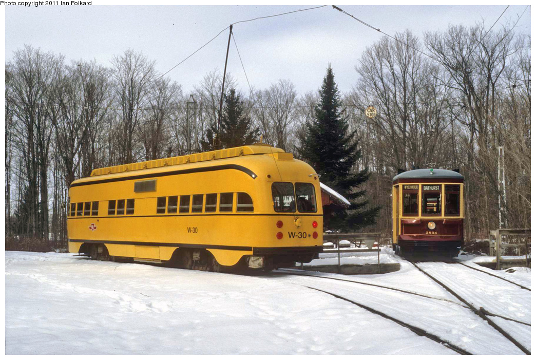 (387k, 1044x701)<br><b>Country:</b> Canada<br><b>City:</b> Toronto<br><b>System:</b> Halton County Radial Railway <br><b>Car:</b> PCC (TTC Toronto) W-30 w/2894 <br><b>Photo by:</b> Ian Folkard<br><b>Date:</b> 2/13/2010<br><b>Notes:</b> W-30 & 2894 at the East End loop, Winterfest.<br><b>Viewed (this week/total):</b> 0 / 587