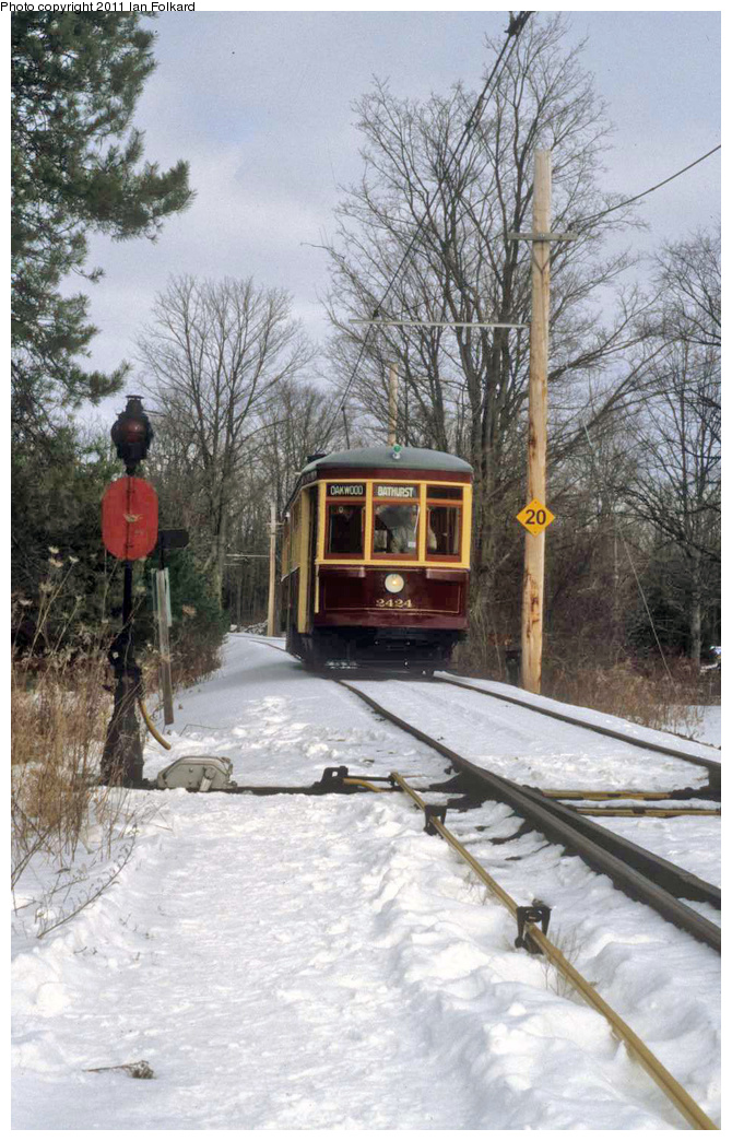 (365k, 670x1044)<br><b>Country:</b> Canada<br><b>City:</b> Toronto<br><b>System:</b> Halton County Radial Railway <br><b>Car:</b> TTC Witt 2424 <br><b>Photo by:</b> Ian Folkard<br><b>Date:</b> 2/13/2010<br><b>Notes:</b> 2424 at the west siding switch, Winterfest.<br><b>Viewed (this week/total):</b> 2 / 164