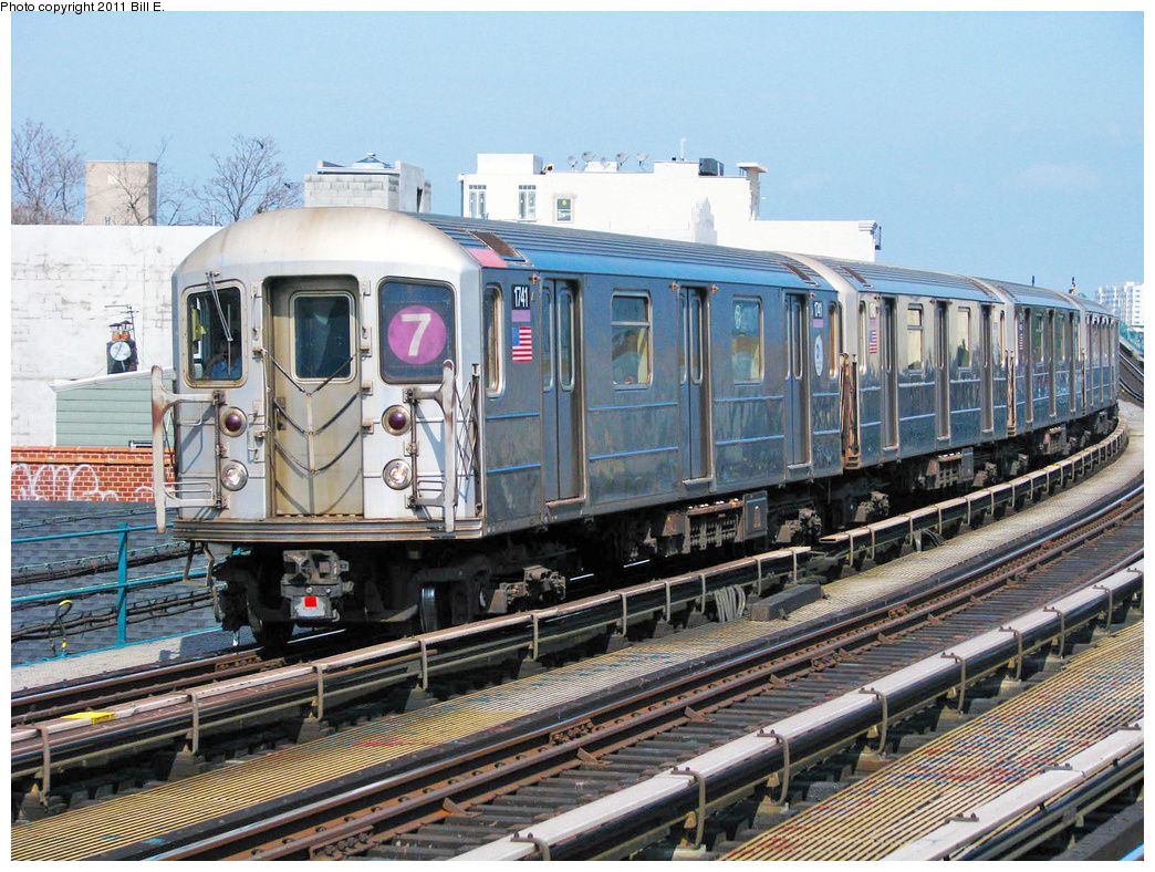 (518k, 1044x788)<br><b>Country:</b> United States<br><b>City:</b> New York<br><b>System:</b> New York City Transit<br><b>Line:</b> IRT Flushing Line<br><b>Location:</b> 103rd Street/Corona Plaza <br><b>Route:</b> 7<br><b>Car:</b> R-62A (Bombardier, 1984-1987)  1741 <br><b>Photo by:</b> Bill E.<br><b>Date:</b> 4/25/2011<br><b>Viewed (this week/total):</b> 2 / 255