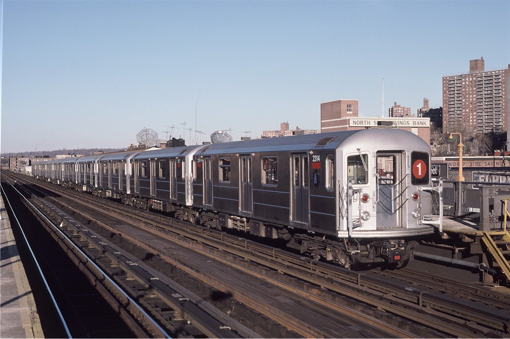 (196k, 1024x681)<br><b>Country:</b> United States<br><b>City:</b> New York<br><b>System:</b> New York City Transit<br><b>Line:</b> IRT West Side Line<br><b>Location:</b> 231st Street <br><b>Route:</b> 1<br><b>Car:</b> R-62A (Bombardier, 1984-1987)  2314 <br><b>Photo by:</b> Eric Oszustowicz<br><b>Collection of:</b> Joe Testagrose<br><b>Date:</b> 11/15/1987<br><b>Viewed (this week/total):</b> 0 / 903