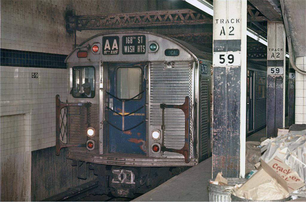 (251k, 1024x678)<br><b>Country:</b> United States<br><b>City:</b> New York<br><b>System:</b> New York City Transit<br><b>Line:</b> IND 8th Avenue Line<br><b>Location:</b> 59th Street/Columbus Circle <br><b>Route:</b> AA<br><b>Car:</b> R-32 (Budd, 1964)  3478 <br><b>Photo by:</b> Joe Testagrose<br><b>Date:</b> 5/6/1970<br><b>Viewed (this week/total):</b> 5 / 733