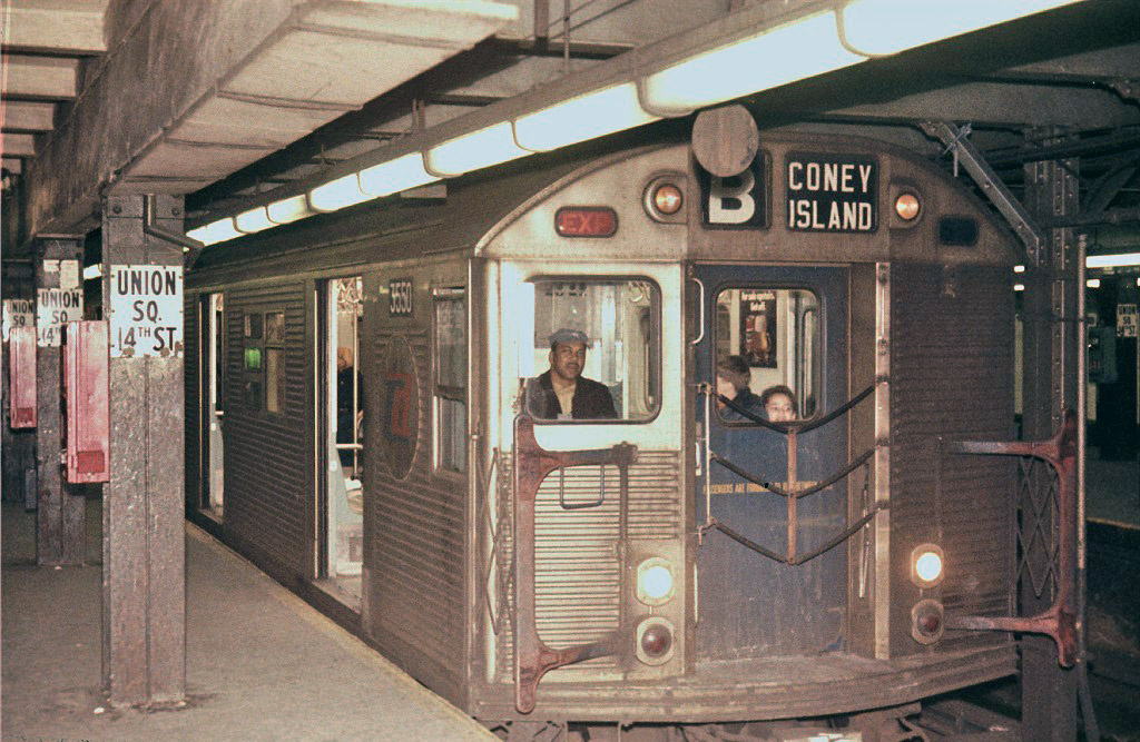 (254k, 1024x667)<br><b>Country:</b> United States<br><b>City:</b> New York<br><b>System:</b> New York City Transit<br><b>Line:</b> IND 6th Avenue Line<br><b>Location:</b> 14th Street <br><b>Route:</b> B<br><b>Car:</b> R-32 (Budd, 1964)  3550 <br><b>Photo by:</b> Steve Zabel<br><b>Collection of:</b> Joe Testagrose<br><b>Viewed (this week/total):</b> 0 / 449