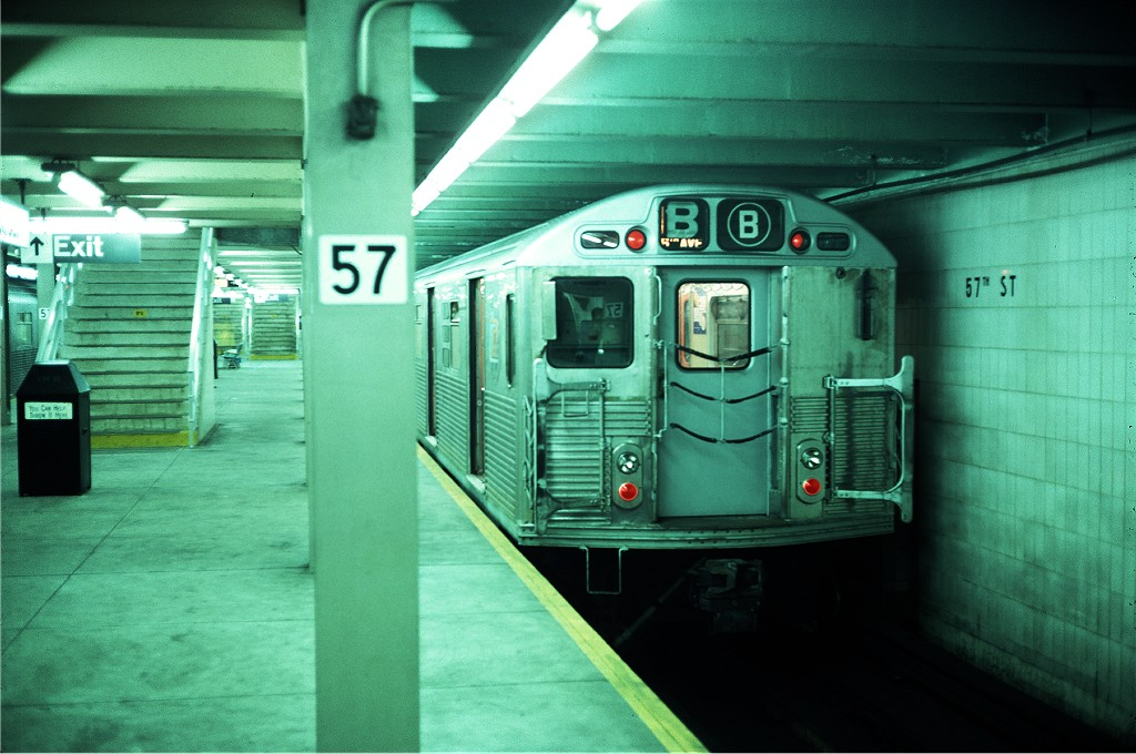 (182k, 1024x680)<br><b>Country:</b> United States<br><b>City:</b> New York<br><b>System:</b> New York City Transit<br><b>Line:</b> IND 6th Avenue Line<br><b>Location:</b> 57th Street <br><b>Route:</b> B<br><b>Car:</b> R-38 (St. Louis, 1966-1967)  3988 <br><b>Photo by:</b> Steve Zabel<br><b>Collection of:</b> Joe Testagrose<br><b>Date:</b> 6/11/1977<br><b>Viewed (this week/total):</b> 1 / 535