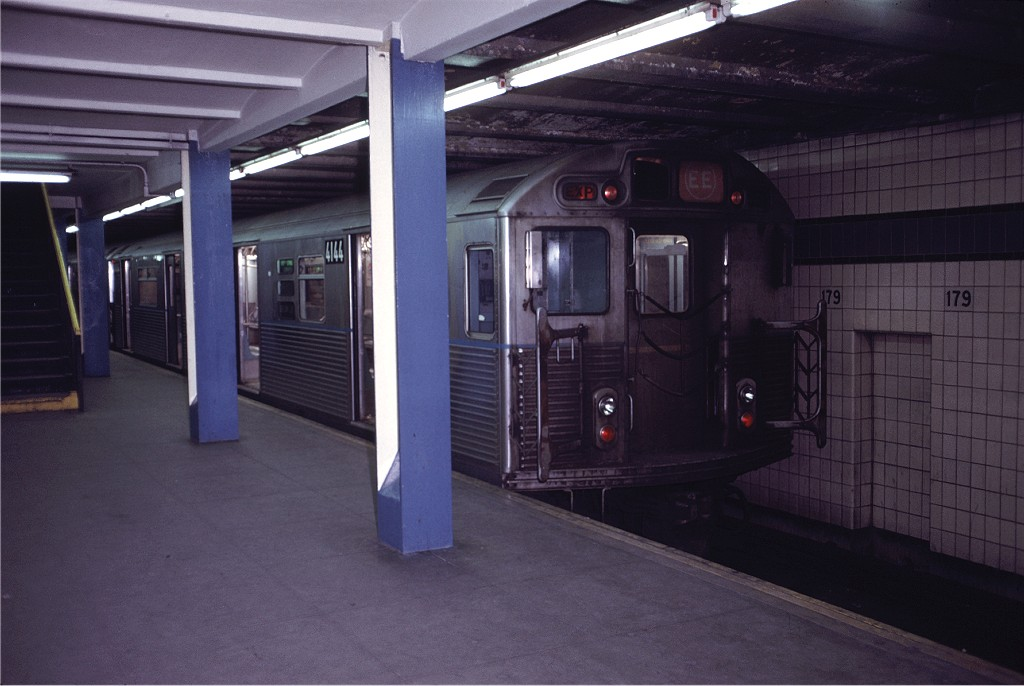 (148k, 1024x686)<br><b>Country:</b> United States<br><b>City:</b> New York<br><b>System:</b> New York City Transit<br><b>Line:</b> IND Queens Boulevard Line<br><b>Location:</b> 179th Street <br><b>Route:</b> EE<br><b>Car:</b> R-38 (St. Louis, 1966-1967)  4144 <br><b>Photo by:</b> Doug Grotjahn<br><b>Collection of:</b> Joe Testagrose<br><b>Date:</b> 12/4/1971<br><b>Viewed (this week/total):</b> 2 / 507