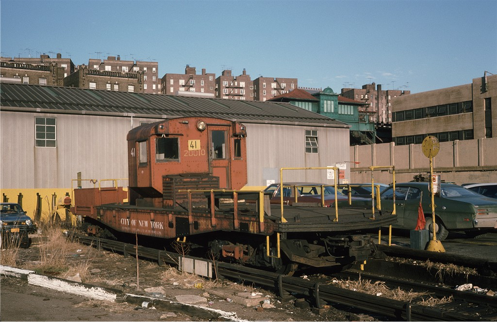 (212k, 1024x665)<br><b>Country:</b> United States<br><b>City:</b> New York<br><b>System:</b> New York City Transit<br><b>Location:</b> 207th Street Yard<br><b>Car:</b> R-3 Motor Flat Car (Drill Motor) (Magor Car, 1932)  41 <br><b>Photo by:</b> Steve Zabel<br><b>Collection of:</b> Joe Testagrose<br><b>Date:</b> 12/19/1974<br><b>Viewed (this week/total):</b> 3 / 316