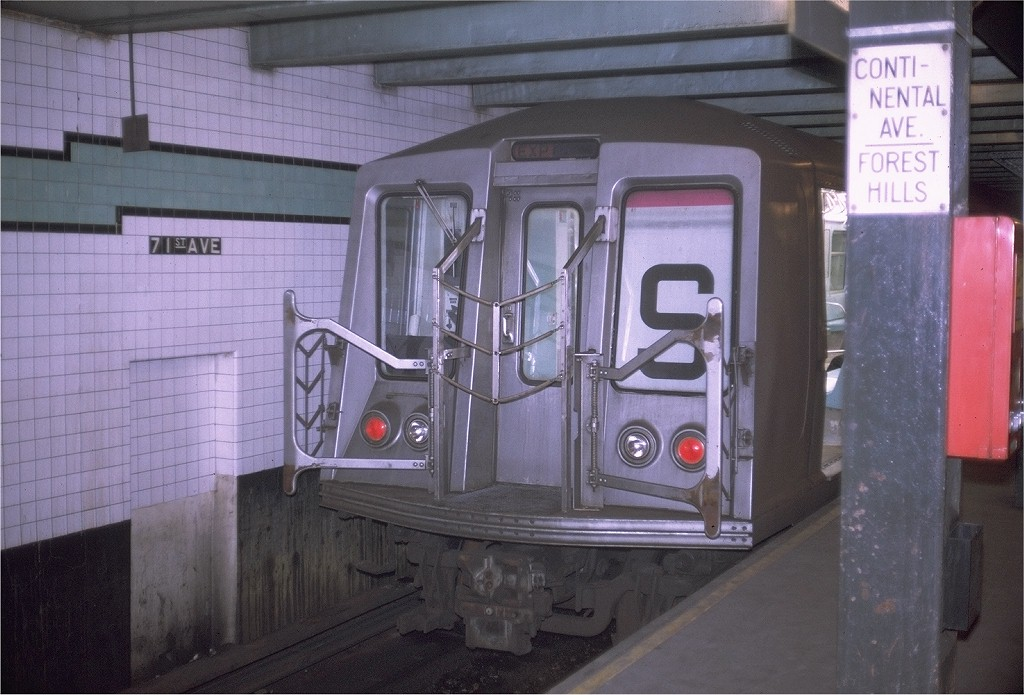 (181k, 1024x695)<br><b>Country:</b> United States<br><b>City:</b> New York<br><b>System:</b> New York City Transit<br><b>Line:</b> IND Queens Boulevard Line<br><b>Location:</b> 71st/Continental Aves./Forest Hills <br><b>Route:</b> GG<br><b>Car:</b> R-40 (St. Louis, 1968)  4416 <br><b>Photo by:</b> Doug Grotjahn<br><b>Collection of:</b> Joe Testagrose<br><b>Date:</b> 7/16/1969<br><b>Viewed (this week/total):</b> 2 / 1145