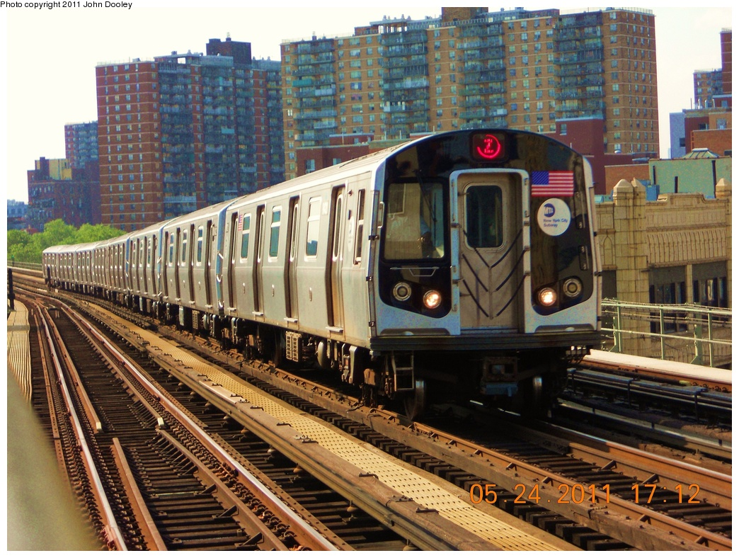 (440k, 1044x788)<br><b>Country:</b> United States<br><b>City:</b> New York<br><b>System:</b> New York City Transit<br><b>Line:</b> BMT Nassau Street/Jamaica Line<br><b>Location:</b> Flushing Avenue <br><b>Route:</b> Z<br><b>Car:</b> R-160A-1 (Alstom, 2005-2008, 4 car sets)  8421 <br><b>Photo by:</b> John Dooley<br><b>Date:</b> 5/24/2011<br><b>Viewed (this week/total):</b> 0 / 627