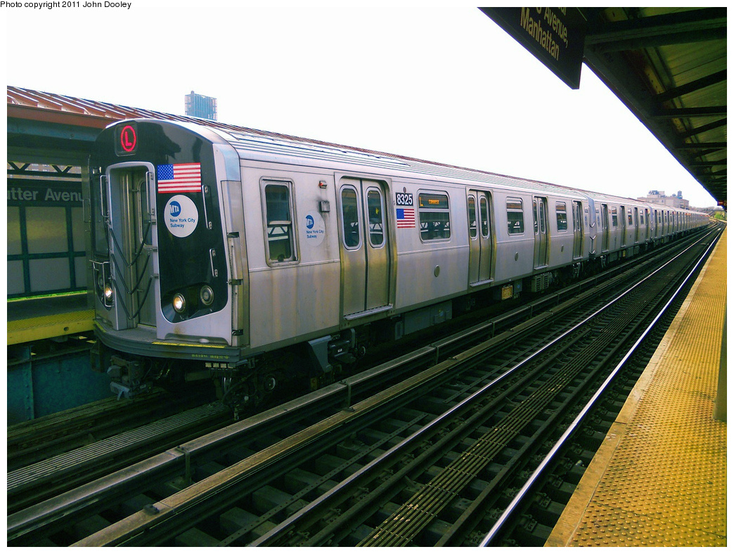 (445k, 1044x788)<br><b>Country:</b> United States<br><b>City:</b> New York<br><b>System:</b> New York City Transit<br><b>Line:</b> BMT Canarsie Line<br><b>Location:</b> Sutter Avenue <br><b>Route:</b> L<br><b>Car:</b> R-160A-1 (Alstom, 2005-2008, 4 car sets)  8325 <br><b>Photo by:</b> John Dooley<br><b>Date:</b> 5/3/2011<br><b>Viewed (this week/total):</b> 0 / 431