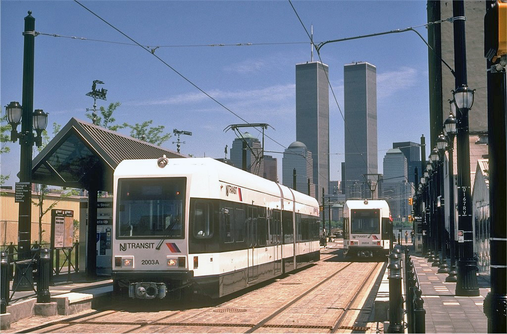 (300k, 1024x675)<br><b>Country:</b> United States<br><b>City:</b> Jersey City, NJ<br><b>System:</b> Hudson Bergen Light Rail<br><b>Location:</b> Essex Street <br><b>Car:</b> NJT-HBLR LRV (Kinki-Sharyo, 1998-99)  2003 <br><b>Photo by:</b> Eric Oszustowicz<br><b>Collection of:</b> Joe Testagrose<br><b>Date:</b> 5/14/2000<br><b>Viewed (this week/total):</b> 0 / 254