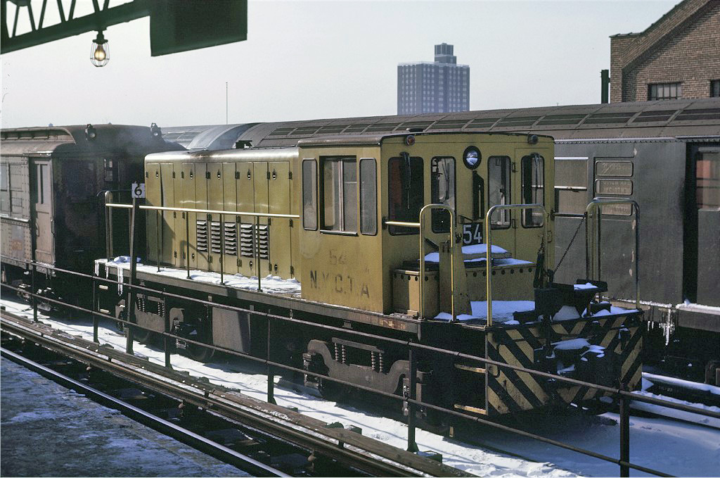 (283k, 1024x679)<br><b>Country:</b> United States<br><b>City:</b> New York<br><b>System:</b> New York City Transit<br><b>Location:</b> East 180th Street Yard<br><b>Route:</b> Work Service<br><b>Car:</b> R-41 Locomotive  54 <br><b>Photo by:</b> Joe Testagrose<br><b>Date:</b> 1/2/1971<br><b>Viewed (this week/total):</b> 1 / 207
