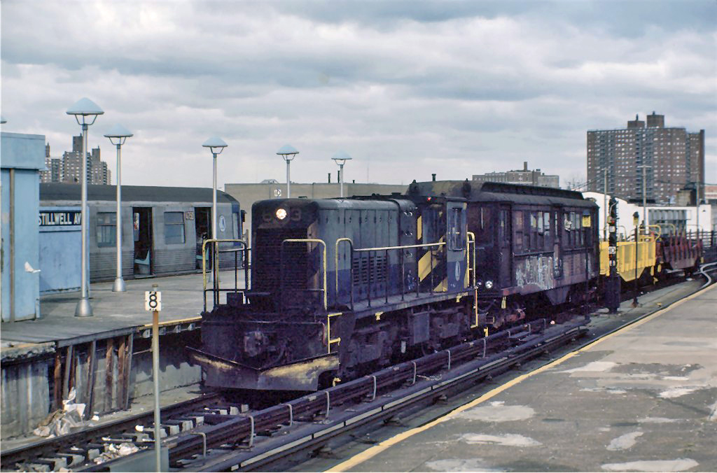 (236k, 1024x676)<br><b>Country:</b> United States<br><b>City:</b> New York<br><b>System:</b> New York City Transit<br><b>Location:</b> Coney Island/Stillwell Avenue<br><b>Route:</b> Work Service<br><b>Car:</b> R-47 Locomotive  63 <br><b>Photo by:</b> Steve Zabel<br><b>Collection of:</b> Joe Testagrose<br><b>Date:</b> 11/7/1981<br><b>Viewed (this week/total):</b> 2 / 480