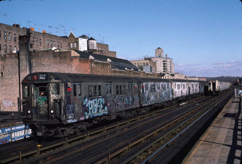 (68k, 800x542)<br><b>Country:</b> United States<br><b>City:</b> New York<br><b>System:</b> New York City Transit<br><b>Line:</b> IRT West Side Line<br><b>Location:</b> 231st Street <br><b>Route:</b> 1<br><b>Car:</b> R-21 (St. Louis, 1956-57) 7214 <br><b>Photo by:</b> Robert Callahan<br><b>Date:</b> 11/17/1984<br><b>Viewed (this week/total):</b> 3 / 485