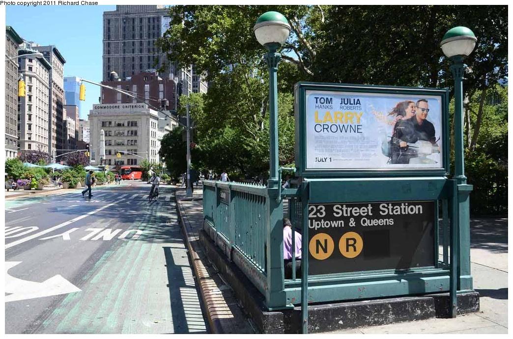 (364k, 1044x691)<br><b>Country:</b> United States<br><b>City:</b> New York<br><b>System:</b> New York City Transit<br><b>Line:</b> BMT Broadway Line<br><b>Location:</b> 23rd Street <br><b>Photo by:</b> Richard Chase<br><b>Date:</b> 7/14/2011<br><b>Notes:</b> Station entrance<br><b>Viewed (this week/total):</b> 3 / 1143