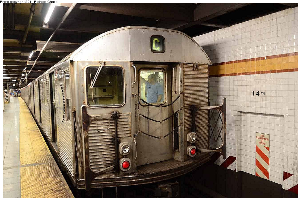 (367k, 1044x699)<br><b>Country:</b> United States<br><b>City:</b> New York<br><b>System:</b> New York City Transit<br><b>Line:</b> IND 8th Avenue Line<br><b>Location:</b> 14th Street <br><b>Route:</b> C<br><b>Car:</b> R-32 (Budd, 1964)   <br><b>Photo by:</b> Richard Chase<br><b>Date:</b> 7/14/2011<br><b>Viewed (this week/total):</b> 5 / 541