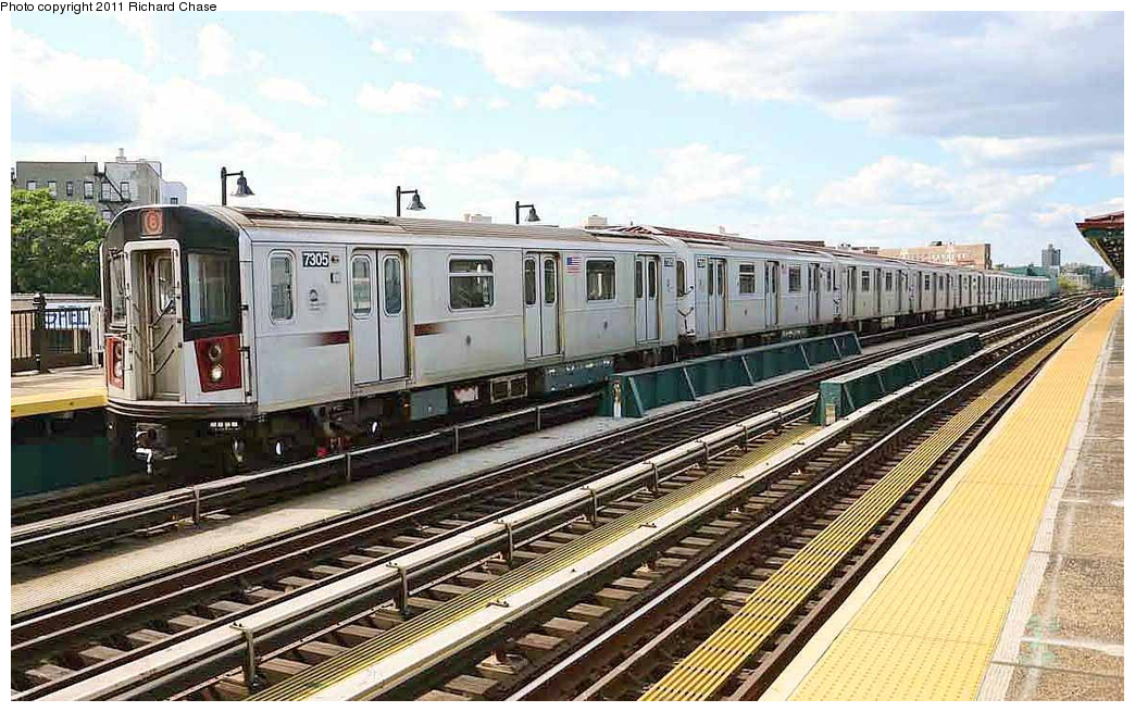 (380k, 1044x655)<br><b>Country:</b> United States<br><b>City:</b> New York<br><b>System:</b> New York City Transit<br><b>Line:</b> IRT Pelham Line<br><b>Location:</b> Whitlock Avenue <br><b>Route:</b> 6<br><b>Car:</b> R-142A (Primary Order, Kawasaki, 1999-2002)  7305 <br><b>Photo by:</b> Richard Chase<br><b>Date:</b> 7/14/2011<br><b>Viewed (this week/total):</b> 2 / 364