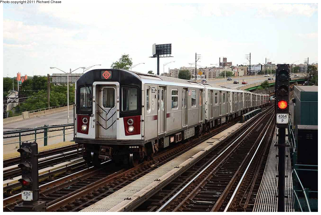 (346k, 1044x699)<br><b>Country:</b> United States<br><b>City:</b> New York<br><b>System:</b> New York City Transit<br><b>Line:</b> IRT Pelham Line<br><b>Location:</b> Whitlock Avenue <br><b>Route:</b> 6<br><b>Car:</b> R-142A (Primary Order, Kawasaki, 1999-2002)  7285 <br><b>Photo by:</b> Richard Chase<br><b>Date:</b> 7/14/2011<br><b>Viewed (this week/total):</b> 2 / 360