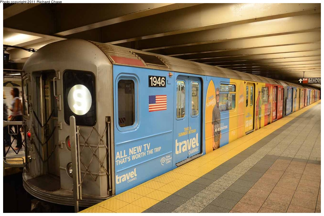 (267k, 1044x699)<br><b>Country:</b> United States<br><b>City:</b> New York<br><b>System:</b> New York City Transit<br><b>Line:</b> IRT Times Square-Grand Central Shuttle<br><b>Location:</b> Grand Central <br><b>Route:</b> S<br><b>Car:</b> R-62A (Bombardier, 1984-1987)  1946 <br><b>Photo by:</b> Richard Chase<br><b>Date:</b> 7/14/2011<br><b>Viewed (this week/total):</b> 2 / 581