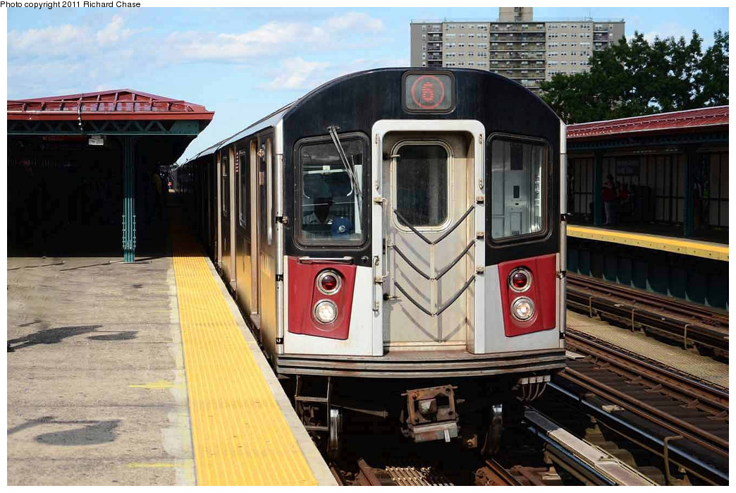 (351k, 1044x699)<br><b>Country:</b> United States<br><b>City:</b> New York<br><b>System:</b> New York City Transit<br><b>Line:</b> IRT Pelham Line<br><b>Location:</b> Morrison/Soundview Aves. <br><b>Route:</b> 6<br><b>Car:</b> R-142 or R-142A (Number Unknown)  <br><b>Photo by:</b> Richard Chase<br><b>Date:</b> 7/14/2011<br><b>Viewed (this week/total):</b> 1 / 416