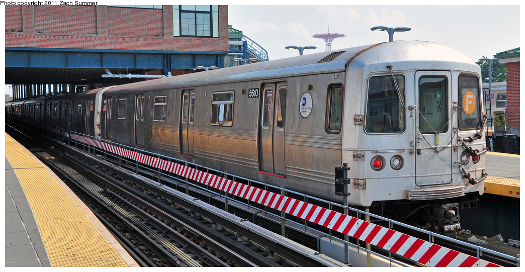 (362k, 1044x541)<br><b>Country:</b> United States<br><b>City:</b> New York<br><b>System:</b> New York City Transit<br><b>Location:</b> Coney Island/Stillwell Avenue<br><b>Route:</b> F<br><b>Car:</b> R-46 (Pullman-Standard, 1974-75) 5610 <br><b>Photo by:</b> Zach Summer<br><b>Date:</b> 7/22/2011<br><b>Viewed (this week/total):</b> 1 / 531
