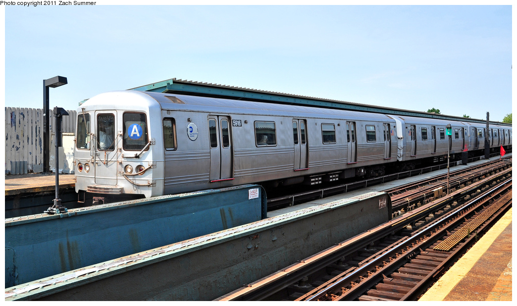 (331k, 1044x618)<br><b>Country:</b> United States<br><b>City:</b> New York<br><b>System:</b> New York City Transit<br><b>Line:</b> IND Fulton Street Line<br><b>Location:</b> Rockaway Boulevard <br><b>Route:</b> A<br><b>Car:</b> R-46 (Pullman-Standard, 1974-75) 5916 <br><b>Photo by:</b> Zach Summer<br><b>Date:</b> 7/23/2011<br><b>Viewed (this week/total):</b> 1 / 192