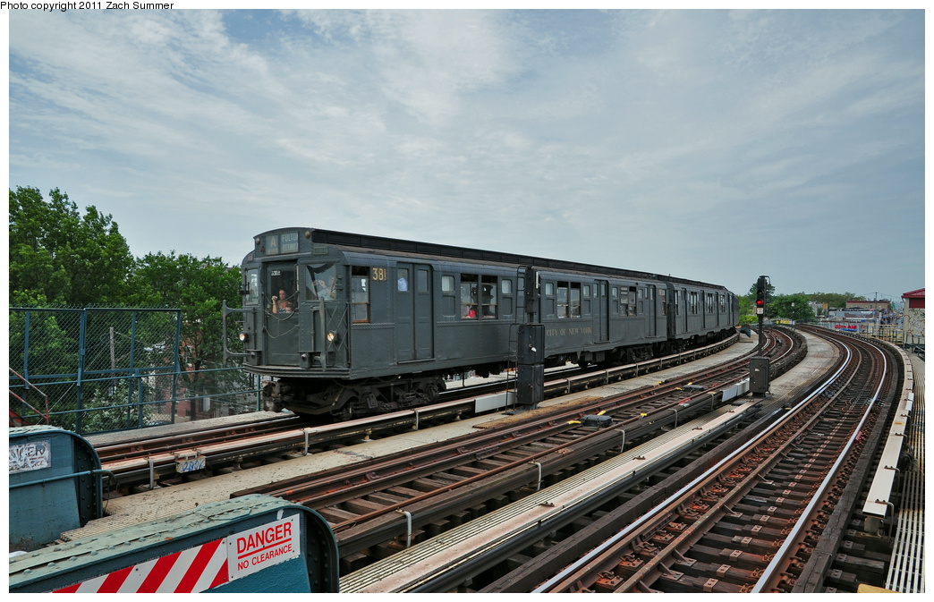 (372k, 1044x673)<br><b>Country:</b> United States<br><b>City:</b> New York<br><b>System:</b> New York City Transit<br><b>Line:</b> IND Fulton Street Line<br><b>Location:</b> 80th Street/Hudson Street <br><b>Route:</b> Transit Museum Nostalgia Train<br><b>Car:</b> R-1 (American Car & Foundry, 1930-1931) 381 <br><b>Photo by:</b> Zach Summer<br><b>Date:</b> 7/23/2011<br><b>Viewed (this week/total):</b> 1 / 271