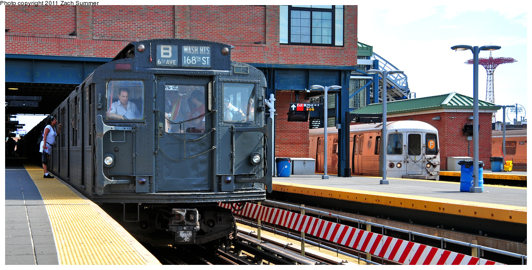 (373k, 1044x530)<br><b>Country:</b> United States<br><b>City:</b> New York<br><b>System:</b> New York City Transit<br><b>Location:</b> Coney Island/Stillwell Avenue<br><b>Route:</b> Transit Museum Nostalgia Train<br><b>Car:</b> R-1 (American Car & Foundry, 1930-1931) 381 <br><b>Photo by:</b> Zach Summer<br><b>Date:</b> 7/23/2011<br><b>Notes:</b> With R46 5610 on the F<br><b>Viewed (this week/total):</b> 1 / 508