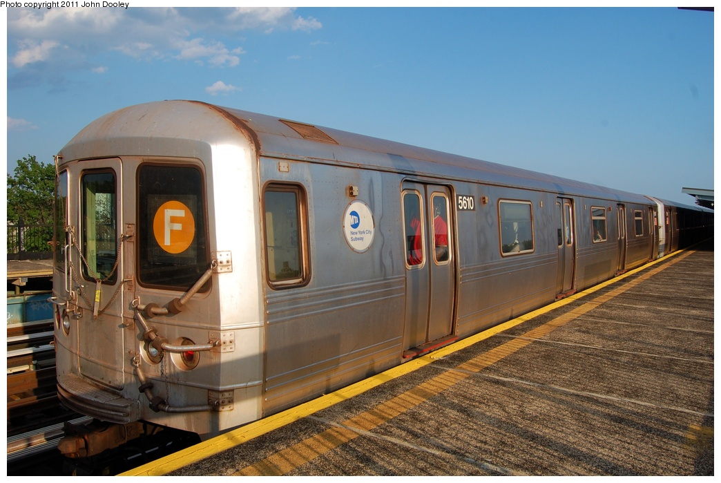 (309k, 1044x699)<br><b>Country:</b> United States<br><b>City:</b> New York<br><b>System:</b> New York City Transit<br><b>Line:</b> BMT Culver Line<br><b>Location:</b> Bay Parkway (22nd Avenue) <br><b>Route:</b> F<br><b>Car:</b> R-46 (Pullman-Standard, 1974-75) 5610 <br><b>Photo by:</b> John Dooley<br><b>Date:</b> 7/26/2011<br><b>Viewed (this week/total):</b> 0 / 321