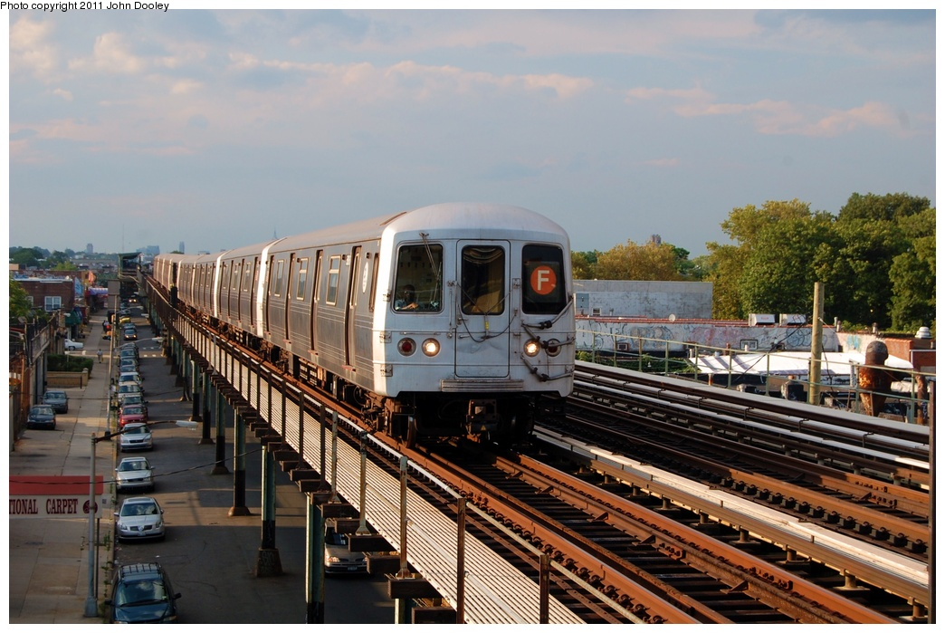 (326k, 1044x699)<br><b>Country:</b> United States<br><b>City:</b> New York<br><b>System:</b> New York City Transit<br><b>Line:</b> BMT Culver Line<br><b>Location:</b> Bay Parkway (22nd Avenue) <br><b>Route:</b> F<br><b>Car:</b> R-46 (Pullman-Standard, 1974-75) 5616 <br><b>Photo by:</b> John Dooley<br><b>Date:</b> 7/26/2011<br><b>Viewed (this week/total):</b> 5 / 892