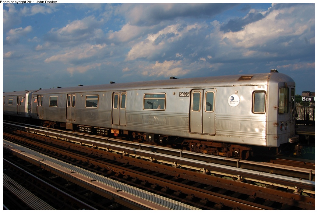 (282k, 1044x699)<br><b>Country:</b> United States<br><b>City:</b> New York<br><b>System:</b> New York City Transit<br><b>Line:</b> BMT Culver Line<br><b>Location:</b> Bay Parkway (22nd Avenue) <br><b>Route:</b> F<br><b>Car:</b> R-46 (Pullman-Standard, 1974-75) 5686 <br><b>Photo by:</b> John Dooley<br><b>Date:</b> 7/26/2011<br><b>Viewed (this week/total):</b> 2 / 204