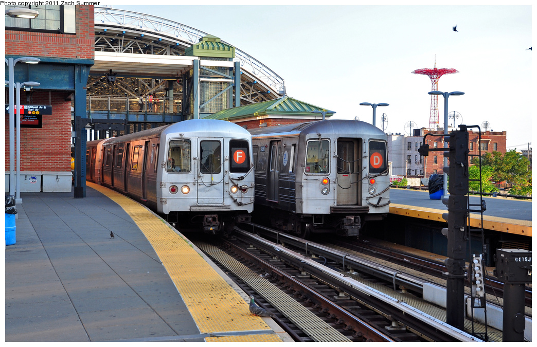 (406k, 1044x675)<br><b>Country:</b> United States<br><b>City:</b> New York<br><b>System:</b> New York City Transit<br><b>Location:</b> Coney Island/Stillwell Avenue<br><b>Route:</b> F<br><b>Car:</b> R-46 (Pullman-Standard, 1974-75) 5816 <br><b>Photo by:</b> Zach Summer<br><b>Date:</b> 7/26/2011<br><b>Notes:</b> With R68 2620 on the D<br><b>Viewed (this week/total):</b> 10 / 1477