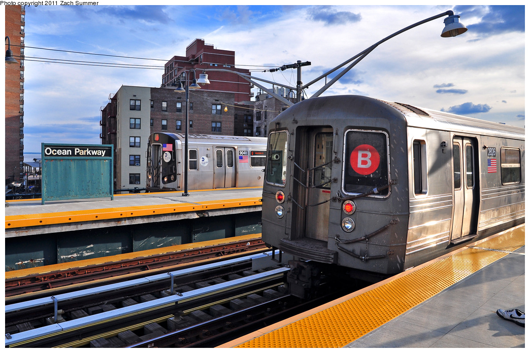 (437k, 1044x696)<br><b>Country:</b> United States<br><b>City:</b> New York<br><b>System:</b> New York City Transit<br><b>Line:</b> BMT Brighton Line<br><b>Location:</b> Ocean Parkway <br><b>Route:</b> Q<br><b>Car:</b> R-160B (Option 1) (Kawasaki, 2008-2009)  9048 <br><b>Photo by:</b> Zach Summer<br><b>Date:</b> 7/27/2011<br><b>Notes:</b> With R68 2826 on a B Yard Move<br><b>Viewed (this week/total):</b> 1 / 409