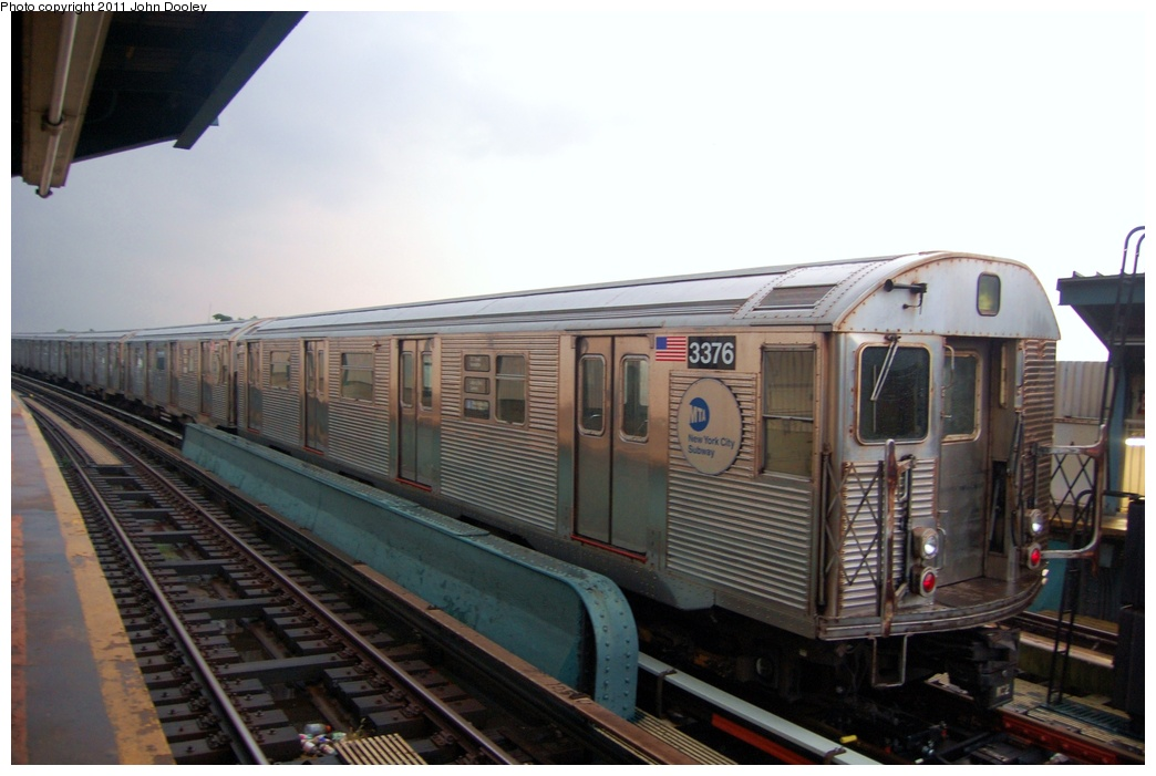 (248k, 1044x701)<br><b>Country:</b> United States<br><b>City:</b> New York<br><b>System:</b> New York City Transit<br><b>Line:</b> IND Fulton Street Line<br><b>Location:</b> 104th Street/Oxford Ave. <br><b>Route:</b> A<br><b>Car:</b> R-32 (Budd, 1964)  3376 <br><b>Photo by:</b> John Dooley<br><b>Date:</b> 7/29/2011<br><b>Viewed (this week/total):</b> 0 / 742