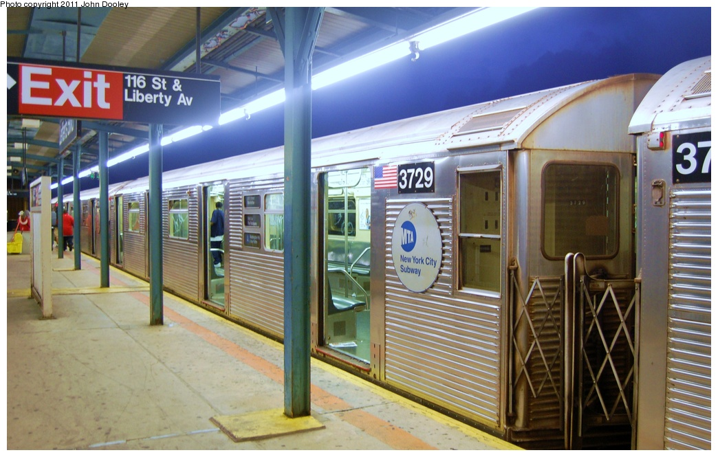 (306k, 1044x665)<br><b>Country:</b> United States<br><b>City:</b> New York<br><b>System:</b> New York City Transit<br><b>Line:</b> IND Fulton Street Line<br><b>Location:</b> Lefferts Boulevard <br><b>Route:</b> A<br><b>Car:</b> R-32 (Budd, 1964)  3729 <br><b>Photo by:</b> John Dooley<br><b>Date:</b> 7/29/2011<br><b>Viewed (this week/total):</b> 0 / 379