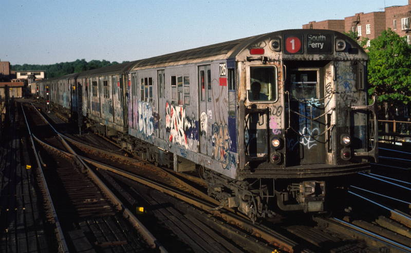 (69k, 800x493)<br><b>Country:</b> United States<br><b>City:</b> New York<br><b>System:</b> New York City Transit<br><b>Line:</b> IRT West Side Line<br><b>Location:</b> 238th Street <br><b>Route:</b> 1<br><b>Car:</b> R-21 (St. Louis, 1956-57) 7215 <br><b>Photo by:</b> Robert Callahan<br><b>Date:</b> 9/21/1984<br><b>Viewed (this week/total):</b> 3 / 350