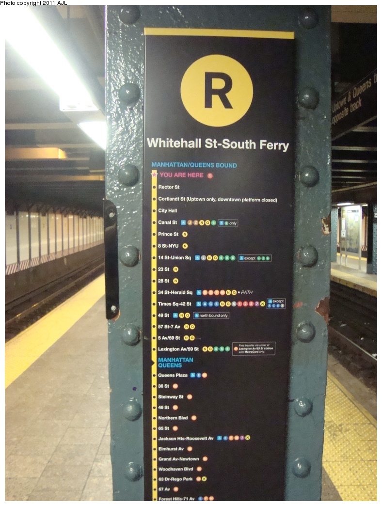(302k, 788x1044)<br><b>Country:</b> United States<br><b>City:</b> New York<br><b>System:</b> New York City Transit<br><b>Line:</b> BMT Broadway Line<br><b>Location:</b> Whitehall Street <br><b>Photo by:</b> Anthony J. Liccese<br><b>Date:</b> 8/8/2011<br><b>Viewed (this week/total):</b> 0 / 892