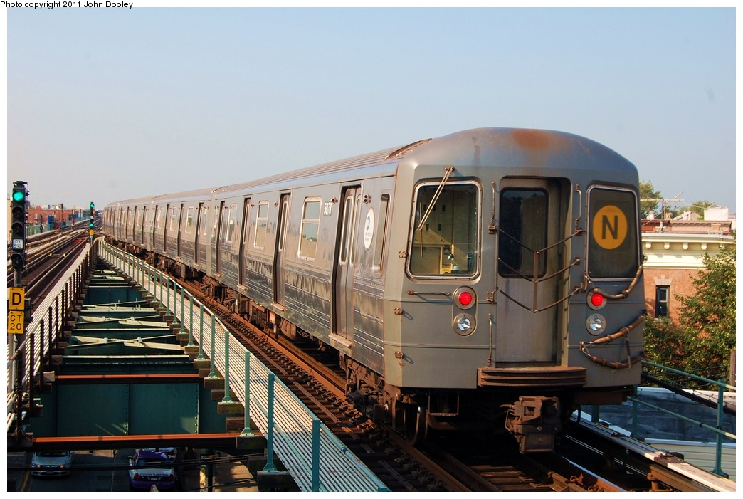 (313k, 1044x701)<br><b>Country:</b> United States<br><b>City:</b> New York<br><b>System:</b> New York City Transit<br><b>Line:</b> BMT West End Line<br><b>Location:</b> 62nd Street <br><b>Route:</b> N reroute<br><b>Car:</b> R-68A (Kawasaki, 1988-1989)  5078 <br><b>Photo by:</b> John Dooley<br><b>Date:</b> 7/23/2011<br><b>Viewed (this week/total):</b> 1 / 355