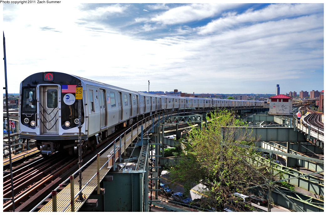 (447k, 1044x688)<br><b>Country:</b> United States<br><b>City:</b> New York<br><b>System:</b> New York City Transit<br><b>Line:</b> BMT Canarsie Line<br><b>Location:</b> Broadway Junction <br><b>Route:</b> L<br><b>Car:</b> R-160A-1 (Alstom, 2005-2008, 4 car sets)  8344 <br><b>Photo by:</b> Zach Summer<br><b>Date:</b> 7/28/2011<br><b>Viewed (this week/total):</b> 4 / 1060