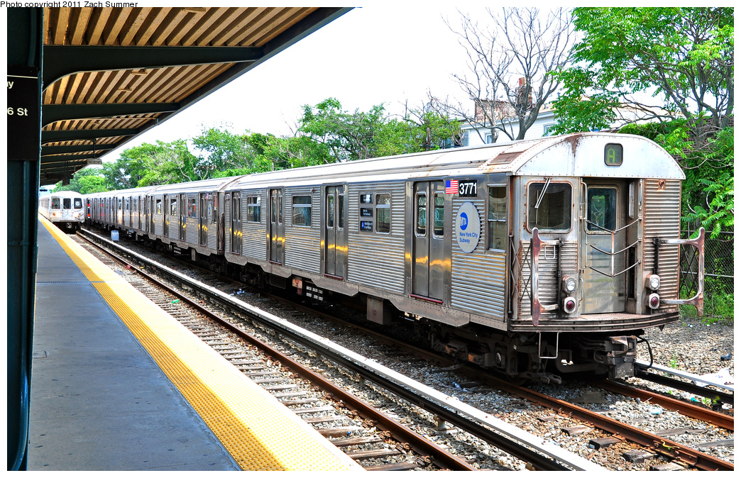(576k, 1044x674)<br><b>Country:</b> United States<br><b>City:</b> New York<br><b>System:</b> New York City Transit<br><b>Line:</b> IND Rockaway<br><b>Location:</b> Rockaway Park/Beach 116th Street <br><b>Route:</b> A Layup<br><b>Car:</b> R-32 (Budd, 1964)  3771 <br><b>Photo by:</b> Zach Summer<br><b>Date:</b> 7/28/2011<br><b>Viewed (this week/total):</b> 0 / 753