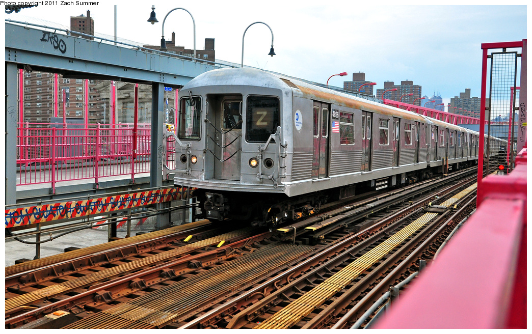 (468k, 1044x656)<br><b>Country:</b> United States<br><b>City:</b> New York<br><b>System:</b> New York City Transit<br><b>Line:</b> BMT Nassau Street/Jamaica Line<br><b>Location:</b> Williamsburg Bridge<br><b>Route:</b> Z<br><b>Car:</b> R-42 (St. Louis, 1969-1970)  4826 <br><b>Photo by:</b> Zach Summer<br><b>Date:</b> 7/28/2011<br><b>Viewed (this week/total):</b> 0 / 518