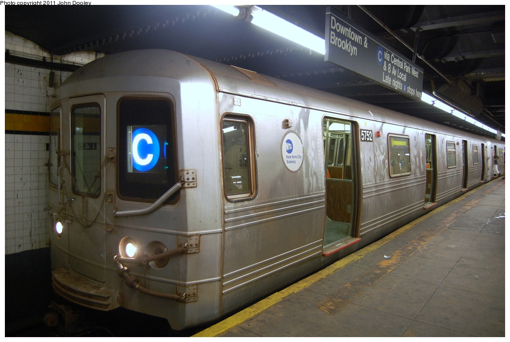(276k, 1044x701)<br><b>Country:</b> United States<br><b>City:</b> New York<br><b>System:</b> New York City Transit<br><b>Line:</b> IND 8th Avenue Line<br><b>Location:</b> 145th Street <br><b>Route:</b> C<br><b>Car:</b> R-46 (Pullman-Standard, 1974-75) 5752 <br><b>Photo by:</b> John Dooley<br><b>Date:</b> 8/15/2011<br><b>Viewed (this week/total):</b> 3 / 690