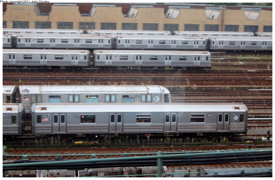 (311k, 1044x684)<br><b>Country:</b> United States<br><b>City:</b> New York<br><b>System:</b> New York City Transit<br><b>Location:</b> Concourse Yard<br><b>Car:</b> R-68A (Kawasaki, 1988-1989)  5112 <br><b>Photo by:</b> John Dooley<br><b>Date:</b> 8/15/2011<br><b>Viewed (this week/total):</b> 2 / 376