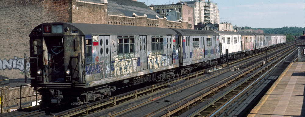 (65k, 1000x385)<br><b>Country:</b> United States<br><b>City:</b> New York<br><b>System:</b> New York City Transit<br><b>Line:</b> IRT West Side Line<br><b>Location:</b> 231st Street <br><b>Route:</b> 1<br><b>Car:</b> R-15 (American Car & Foundry, 1950) 5970 <br><b>Photo by:</b> Robert Callahan<br><b>Date:</b> 9/22/1984<br><b>Viewed (this week/total):</b> 4 / 1090