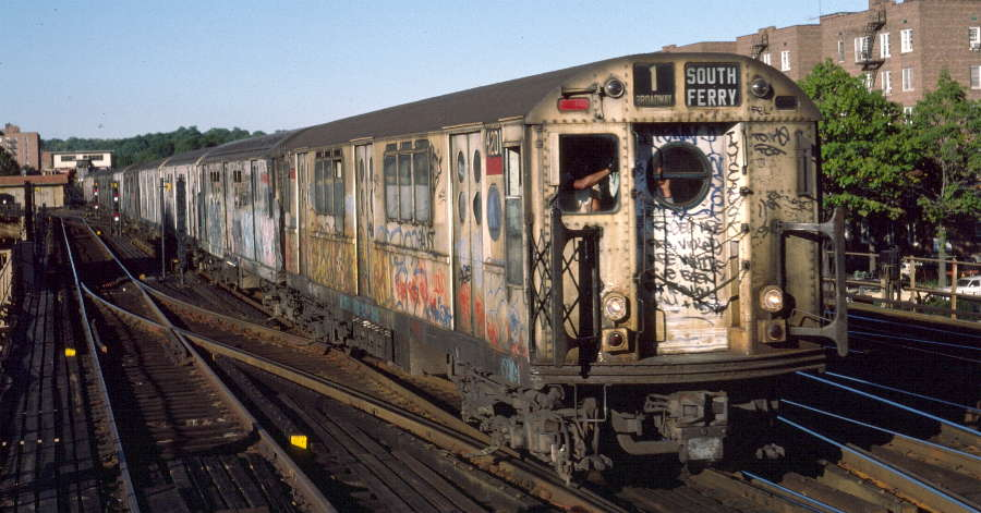 (68k, 900x471)<br><b>Country:</b> United States<br><b>City:</b> New York<br><b>System:</b> New York City Transit<br><b>Line:</b> IRT West Side Line<br><b>Location:</b> 238th Street <br><b>Route:</b> 1<br><b>Car:</b> R-15 (American Car & Foundry, 1950) 6201 <br><b>Photo by:</b> Robert Callahan<br><b>Date:</b> 10/4/1984<br><b>Viewed (this week/total):</b> 0 / 1239