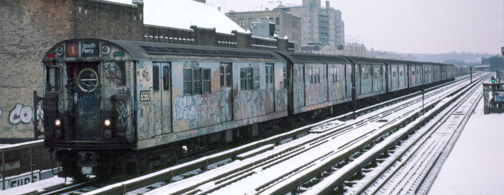 (63k, 1000x387)<br><b>Country:</b> United States<br><b>City:</b> New York<br><b>System:</b> New York City Transit<br><b>Line:</b> IRT West Side Line<br><b>Location:</b> 231st Street <br><b>Route:</b> 1<br><b>Car:</b> R-17 (St. Louis, 1955-56) 6560 <br><b>Photo by:</b> Robert Callahan<br><b>Date:</b> 2/2/1985<br><b>Viewed (this week/total):</b> 2 / 350