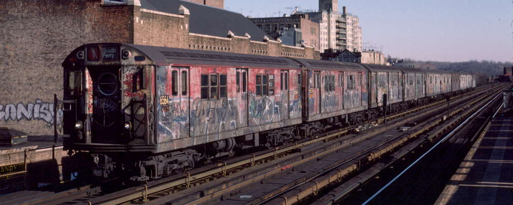(62k, 1000x400)<br><b>Country:</b> United States<br><b>City:</b> New York<br><b>System:</b> New York City Transit<br><b>Line:</b> IRT West Side Line<br><b>Location:</b> 231st Street <br><b>Route:</b> 1<br><b>Car:</b> R-17 (St. Louis, 1955-56) 6564 <br><b>Photo by:</b> Robert Callahan<br><b>Date:</b> 2/18/1985<br><b>Viewed (this week/total):</b> 3 / 726