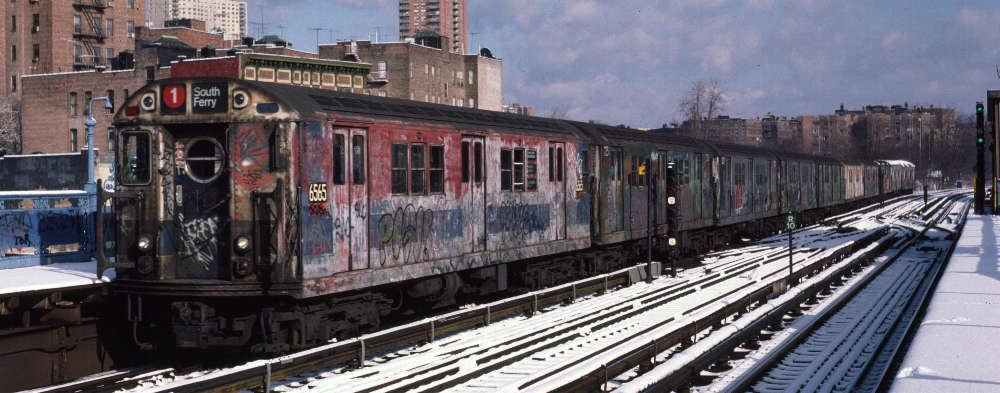 (67k, 1000x393)<br><b>Country:</b> United States<br><b>City:</b> New York<br><b>System:</b> New York City Transit<br><b>Line:</b> IRT West Side Line<br><b>Location:</b> 215th Street <br><b>Route:</b> 1<br><b>Car:</b> R-17 (St. Louis, 1955-56) 6565 <br><b>Photo by:</b> Robert Callahan<br><b>Date:</b> 1/5/1985<br><b>Viewed (this week/total):</b> 0 / 500